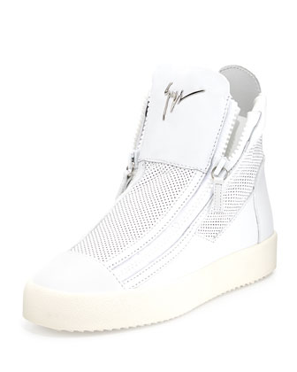 Mesh High-Top Sneaker, White