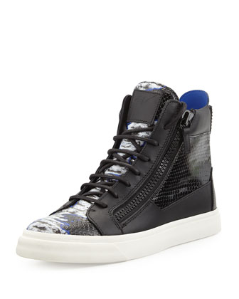 Tie-Dye Print High-Top Sneaker, Black/Blue/White