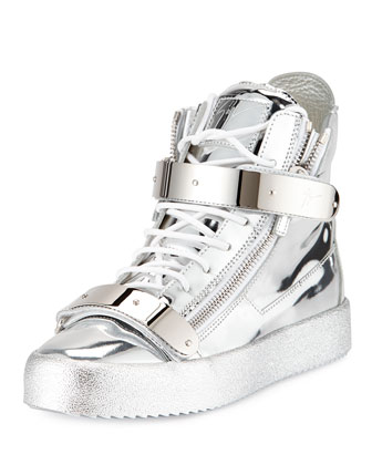 Metallic Leather High-Top Sneaker, Silver