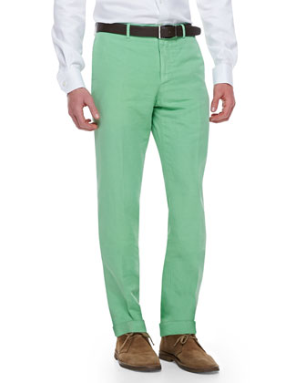 Chinolino Cotton/Linen Trousers, Apple Green