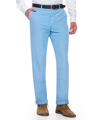 Chinolino Cotton/Linen Trousers, Light Blue