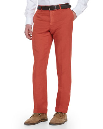 Chinolino Cotton/Linen Trousers, Orange