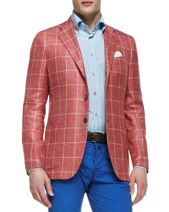 Windowpane Three-Button Jacket, Red