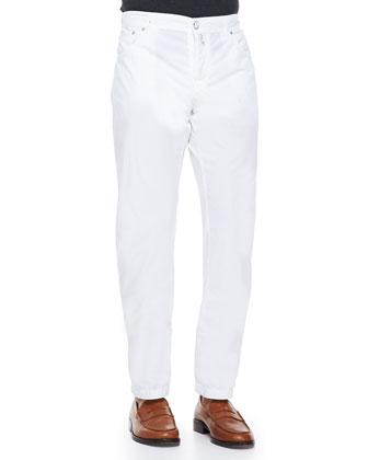 Three-Button Wool Blazer, Check Button-Down Shirt & Twill Straight-Leg Trousers