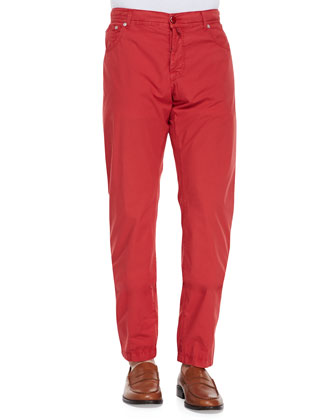 Twill Straight-Leg Trousers, Red Pop
