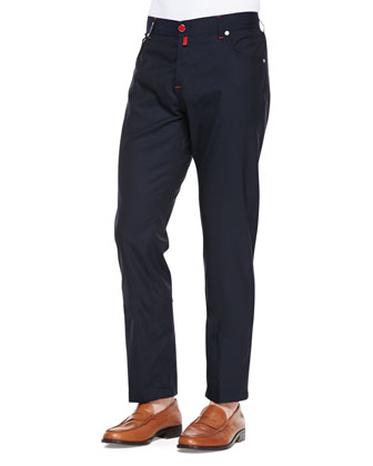 Cotton Long-Sleeve Sweater & Woven Check Dress Shirt & Wool Trousers