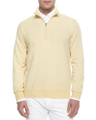 Roadster Half-Zip Cashmere Sweater, Yellow