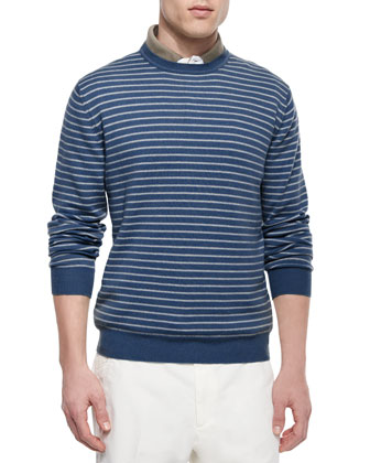 Westport Striped Crewneck Sweater, Regata Contrast-Collar Polo & Flat-Front ...