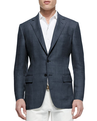 Madrid Check Denim Sport Jacket, Blue