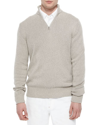 Half-Zip Pullover Sweater, Taupe