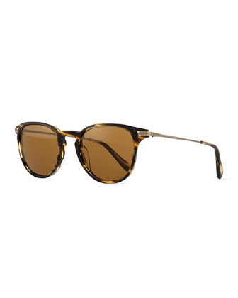 Ennis Acetate/Metal Sunglasses, Coco/Antiqued Gold