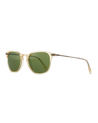 Ennis Acetate/Metal Sunglasses, Buff/Antiqued Gold