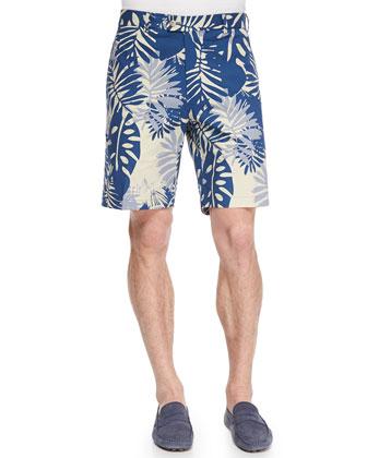 Leaf-Printed Cotton Shorts, Blue