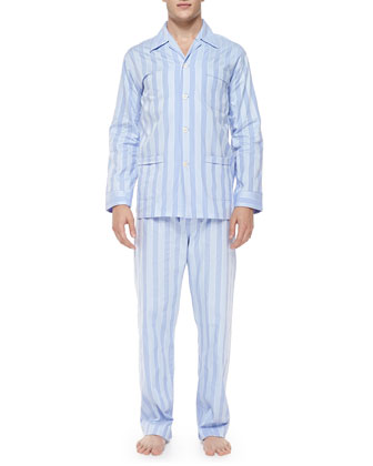 Men's Stripe Pajama Set, Blue