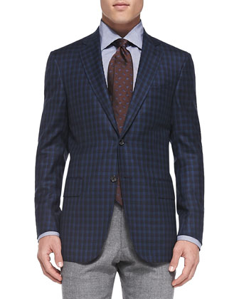 Check Two-Button Jacket, Blue/Navy