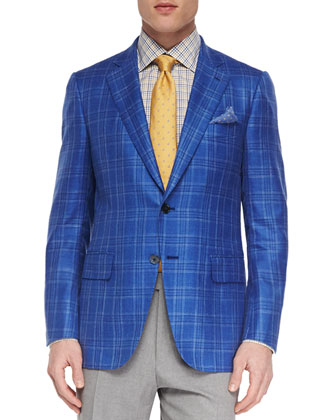 Woven Wool-Blend Plaid Blazer, Tattersall Check Dress Shirt & Solid ...