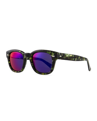 Plastic Frame Sunglasses, Havana/Green
