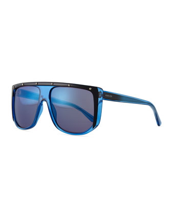 Plastic Frame Sunglasses, Blue/Black/Crystal