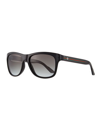 Plastic Square-Frame Sunglasses, Black