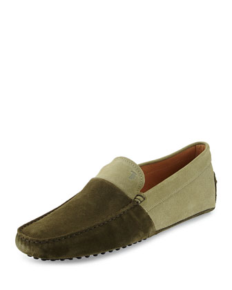 Suede Colorblock Driving Shoe, Green