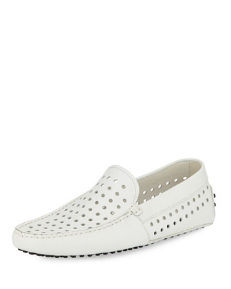 Perforated Leather Driver, White