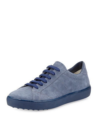 Suede Lace-Up Sneaker, Light Blue
