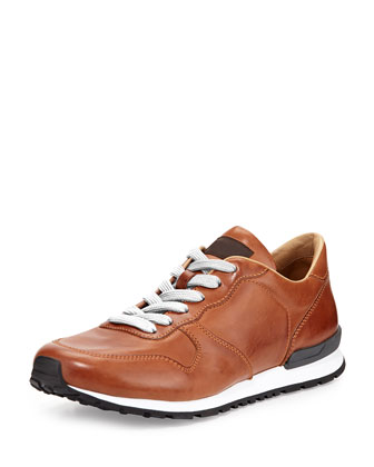 Runner Burnished Leather Sneaker, Brown