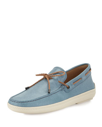Leather Scoopy Tie Boat Shoe, Light Blue