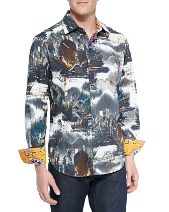 Abstract-Print Long-Sleeve Sport Shirt, Gray