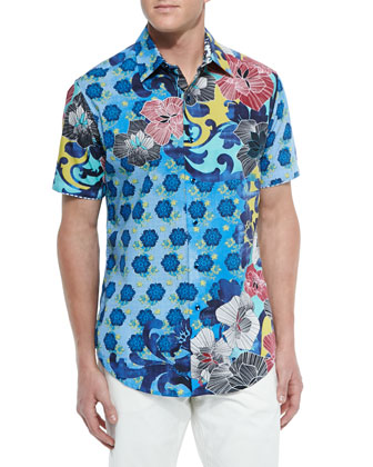 Floral Ensenada Short-Sleeve Sport Shirt, Navy