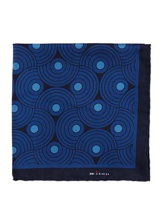 Circle-Swirls Pocket Square, Blue