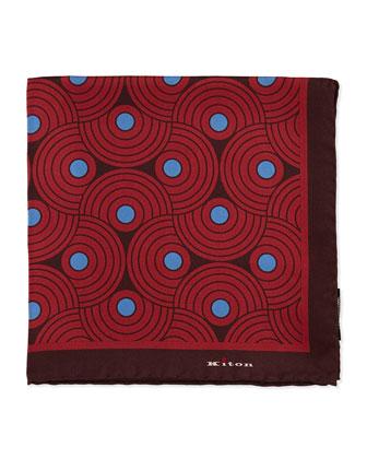 Circle-Swirls Pocket Square, Red