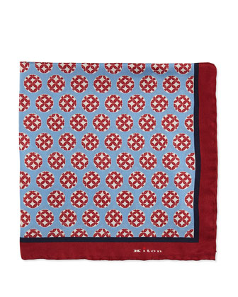 Circle-Print Pocket Square, Light Blue/Red
