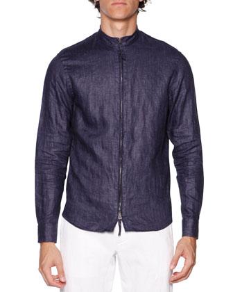 Zip-Front Linen Shirt, Navy
