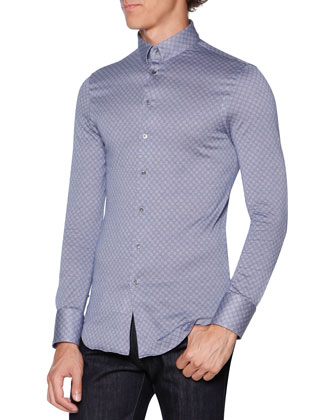 Circle-Print Jersey Button-Down Shirt, Blue/Gray