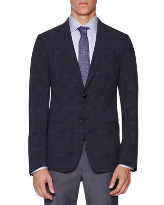 Plaid Seersucker Jacket, Blue