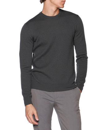 Bubble-Stitch Crewneck Sweater