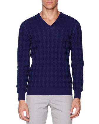 Diamond-Stitch Reversible Sweater, Cobalt