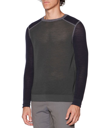 Horizontal-Ribbed Merino Sweater