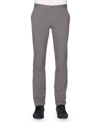 Fine-Stripe Flat-Front Trousers