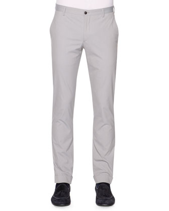 Flat-Front Fine-Striped Pants, Light Gray