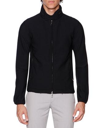 Waffle-Knit Zip Bomber Jacket, Black