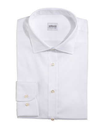 Twill Woven Dress Shirt, White