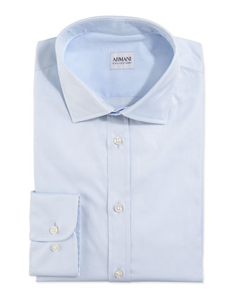 Modern Fit Twill Woven Dress Shirt, Blue