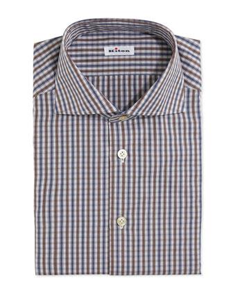 Bold-Check Dress Shirt, Brown