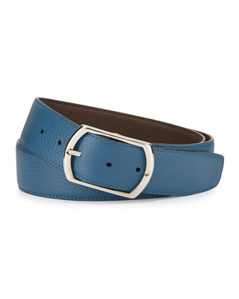 Reversible Leather Belt, Brown/Blue