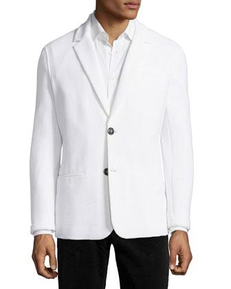 Two-Button Textured Jacket, White