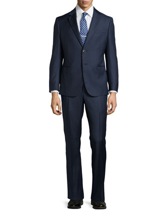 High-Stripe Two-Button Two-Piece Suit, Blue