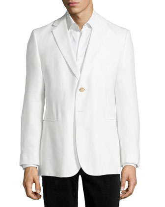 Two-Button Textured Jacket, White