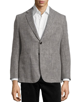 Wool Hopsack Two-Button Jacket, Gray